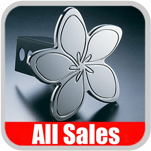 All Sales Trailer Hitch Cover Hula Hitch Cover Hula Theme w/Meria Flower Design Polished Aluminum Finish #1021