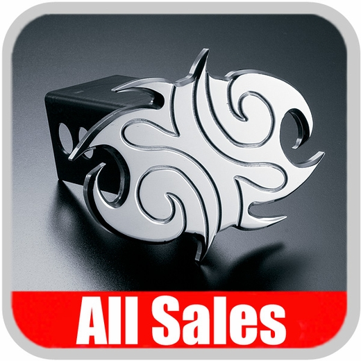 All Sales Trailer Hitch Cover Hula Hitch Cover Tribal Design Polished Aluminum Finish #1026