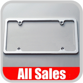All Sales License Plate Frame Flat, Smooth Style Frame Brushed Aluminum Sold Individually #84002