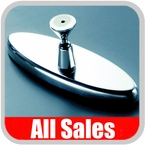 """All Sales Rear View Mirror 6"""" Long Oval Design Smooth Finish Style Polished Aluminum Sold Individually #71000P"""