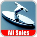 """All Sales Rear View Mirror 6"""" Long Oval Design Smooth Finish Style Polished Aluminum Sold Individually #71001P"""
