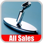 """All Sales Rear View Mirror 6"""" Long Oval Design Smooth Finish Style Polished Aluminum Sold Individually #71005P"""