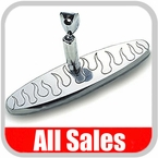 """All Sales Rear View Mirror 8"""" Long Oval Design Engraved Flame Style Polished Aluminum Sold Individually #97315P"""