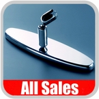 """All Sales Rear View Mirror 8"""" Long Oval Design Smooth Finish Style Polished Aluminum Sold Individually #97394P"""