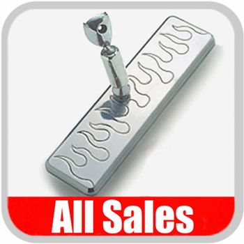 """All Sales Rear View Mirror 8"""" Long Rectangular Design Engraved Flame Style Brushed Aluminum Sold Individually #27315"""