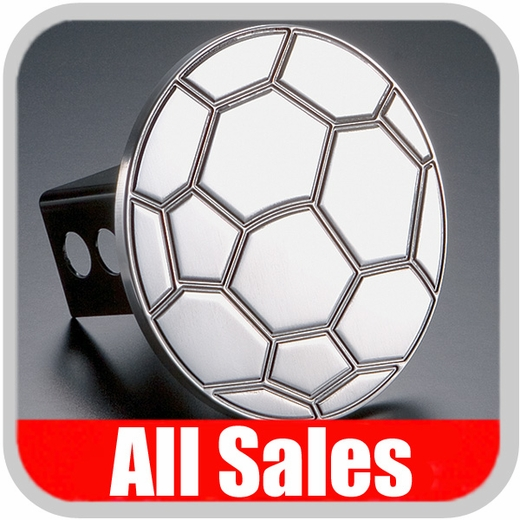 All Sales Trailer Hitch Cover Soccer Ball Hitch Cover Soccer Ball Design Polished Aluminum Finish #1030