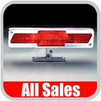 All Sales Third Brake Light Pedestal Style Polished Aluminum Bow Tie Logo Design Sold Individually #94003P