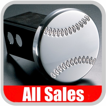 All Sales Trailer Hitch Cover Baseball Hitch Cover Baseball w/Seams Polished Aluminum Finish #1031