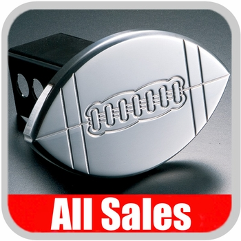 All Sales Trailer Hitch Cover Football Hitch Cover Football w/Seams Polished Aluminum Finish #1032
