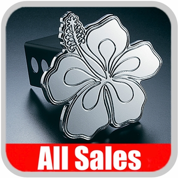 All Sales Trailer Hitch Cover Hula Hitch Cover Hula Theme w/Biscus Flower Design Polished Aluminum Finish #1020