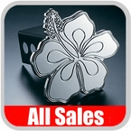 All Sales Trailer Hitch Cover Hula Hitch Cover Hula Theme w/Biscus Flower Design Polished Aluminum Finish Sold Individually #1020