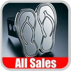 All Sales Trailer Hitch Cover Hula Hitch Cover Hula Theme w/Flip-Flops Design Polished Aluminum Finish Sold Individually #1022