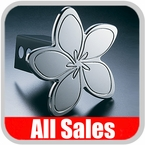 All Sales Trailer Hitch Cover Hula Hitch Cover Hula Theme w/Meria Flower Design Polished Aluminum Finish Sold Individually #1021
