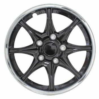 "Pilot Automotive 16"" Black Hub Caps Black w/Chrome Trim, 8-Spoke Set of 4 #WH522-16C-B"