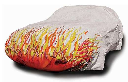 CoverKing Flamed Car Cover White Car Cover w/ Red, Yellow & Orange Flames For Sedans up to 14' Long #SPC31