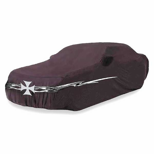 """CoverKing Iron Cross Car Cover Black Car Cover w/ Iron Cross & Flame Logo For Sedans up to 14' 2"""" Long #SPC89"""