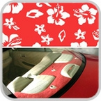CoverKing Rear Cover Red, Hawaiian Design Velour Material #CRDA7