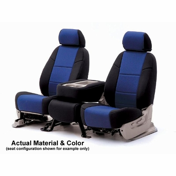 CoverKing Tailored Seatcovers 2-Tone Black Sides w/Blue Inlay Genuine CR Grade Neoprene 1-Row Set #CSCF3