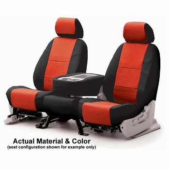 CoverKing Tailored Seatcovers 2-Tone Black Sides w/Red Inlay Genuine CR Grade Neoprene 1-Row Set #CSCF2