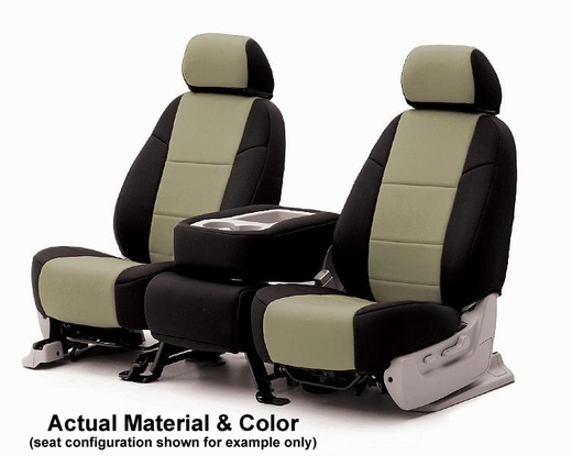 CoverKing Tailored Seatcovers 2-Tone Black Sides w/Tan Inlay NeoSupreme Material 1-Row Set #CSC2A5