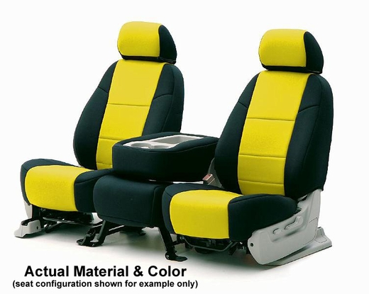 CoverKing Tailored Seatcovers 2-Tone Black Sides w/Yellow Inlay Genuine CR Grade Neoprene 1-Row Set #CSCF5