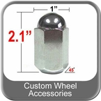 "Custom Wheel Accessories® 5/8"" x 18 Chrome Duallie Lug Nuts Tapered (45°) Seat Right Hand Thread Chrome Sold Individually #7611"