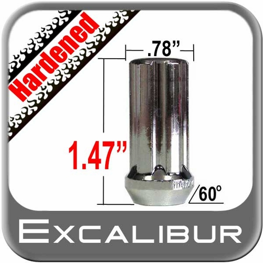 Excalibur® 12mm x 1.5 Lug Nuts Tapered (Bulge)(60°) Seat Right Hand Thread Chrome Sold Individually #98-0357A