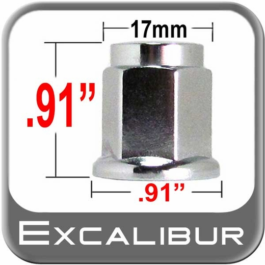 Excalibur® 12mm x 1.25 Chrome Lug Nuts Flat (Flanged) Seat Right Hand Thread Chrome Sold Individually #98-0030