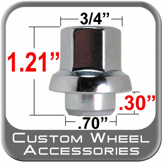 Custom Wheel Accessories® 12mm x 1.5 Corvette Lug Nuts Mag (Corvette Flange) Seat Right Hand Thread Chrome Sold Individually #4906GC