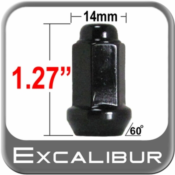 Excalibur® 10mm x 1.25 Black Lug Nuts Tapered (60°) Seat Right Hand Thread Black Sold Individually #98-0033B