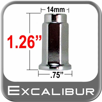 Excalibur® 10mm x 1.25 Chrome Lug Nuts Flat (Flanged) Seat Right Hand Thread Chrome Sold Individually #98-0021