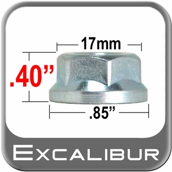 Excalibur® 10mm x 1.25 Zinc Lug Nuts Flat (Flanged) Seat Right Hand Thread Silver Sold Individually #98-0008