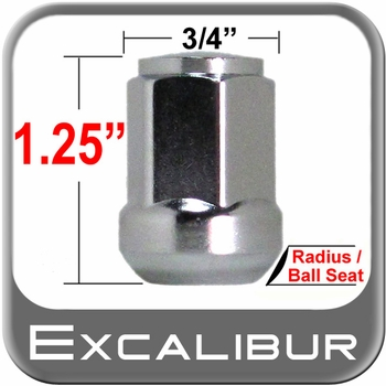 Excalibur® 12mm x 1.5 Chrome Lug Nuts Ball/Radius Seat Right Hand Thread Chrome Sold Individually #98-0015