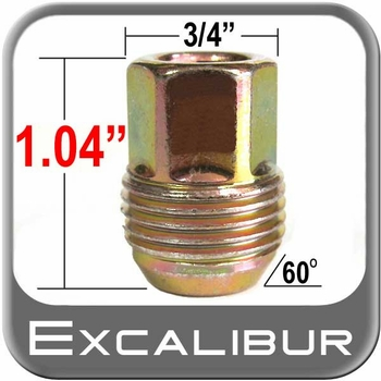 Excalibur® 12mm x 1.5 GM Lug Nuts - Small Tapered (60°) Seat Right Hand Thread Yellow, Gold Sold Individually #98-0016