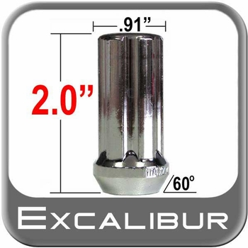 Excalibur® 12mm x 1.5 Lug Nuts Tapered (Bulge)(60°) Seat Right Hand Thread Chrome Sold Individually #98-0417L