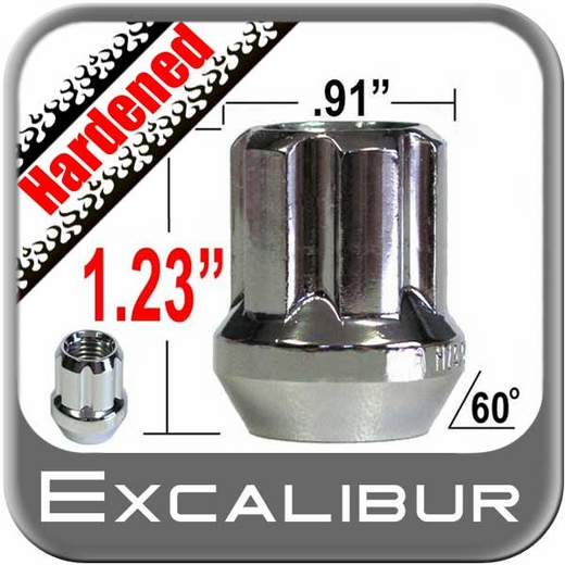 Excalibur® 14mm x 1.5 Lug Nuts Tapered (Bulge)(60°) Seat Right Hand Thread Chrome Sold Individually #98-0419OE