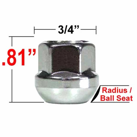 Custom Wheel Accessories® 14mm x 1.5 Zinc Lug Nuts Ball/Radius Seat Right Hand Thread Silver Sold Individually #53080PRS