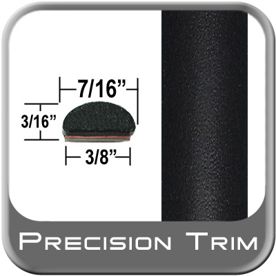 """7/16"""" Wide Wheel Molding Trim Black (Flat) (PT11) Sold by the Foot Precision Trim® #2150-11-01"""