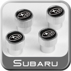Genuine Subaru Valve Stem Caps Black w/Subaru Logo Set of 4 #SOA342L137