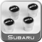 Genuine Subaru WRX Valve Stem Caps Black w/WRX Logo Set of 4 #SOA342L134