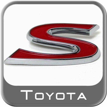"Genuine Toyota S Sport Edition Emblem Chrome ""S"" w/Red Inset Sold Individually #PT413-5206B"