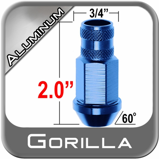 Gorilla® 12mm x 1.5 Blue Aluminum Racing Lug Nuts Tapered (Bulge)(60°) Seat Right Hand Thread Blue Sold Individually #44038BL