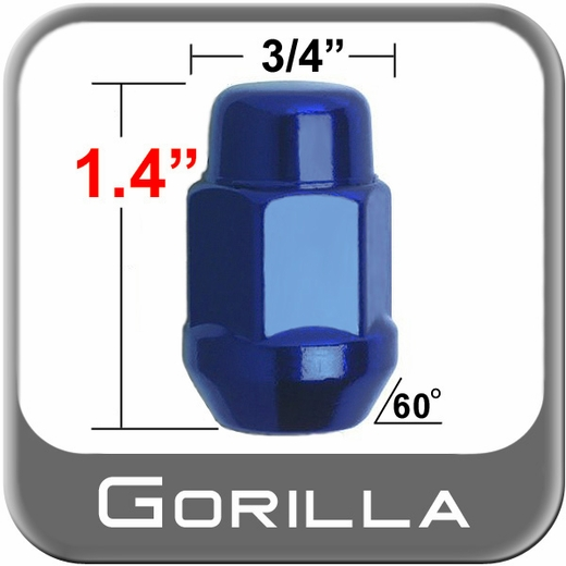 Gorilla® 12mm x 1.25 Blue Lug Nuts Tapered (Bulge)(60°) Seat Right Hand Thread Blue Sold Individually #41128BL