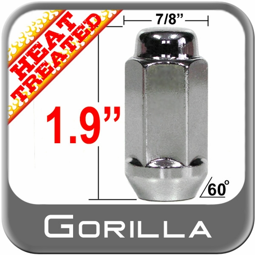 "Gorilla® 9/16"" x 18 Chrome Lug Nuts Tapered (60°) Seat Left Hand Thread Chrome Sold Individually #76198LHT"