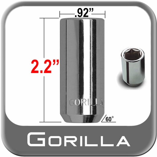 Gorilla® 14mm x 1.5 Hex Socket Lug Nuts Tapered (60°) Seat Right Hand Thread Chrome Sold Individually #26048XL