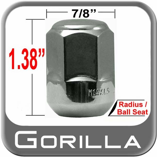 Gorilla® 14mm x 1.5 Honda Lug Nut Ball/Radius Seat Right Hand Thread Chrome Sold Individually #38148