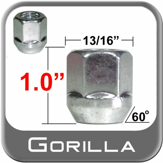Gorilla® 14mm x 2.0 Open End Lug Nuts Tapered (60°) Seat Right Hand Thread Silver Sold Individually #90008
