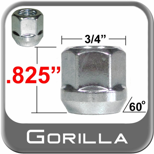Gorilla® 12mm x 1.25 Open End Lug Nuts Tapered (60°) Seat Right Hand Thread Silver Sold Individually #40028