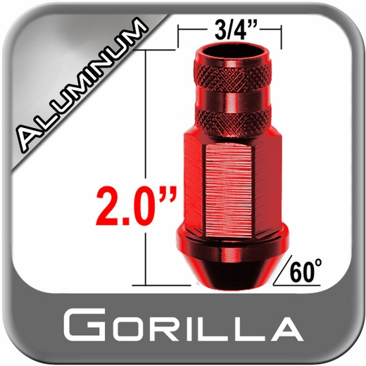 Gorilla® 12mm x 1.25 Red Aluminum Racing Lug Nuts Tapered (Bulge)(60°) Seat Right Hand Thread Red Sold Individually #44028RD