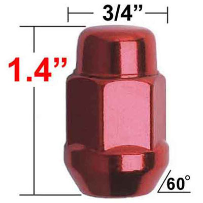 Gorilla® 12mm x 1.5 Red Lug Nuts Tapered (Bulge)(60°) Seat Right Hand Thread Red Sold Individually #41138RD